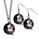 Florida St. Seminoles Dangle Earrings and Chain Necklace Set