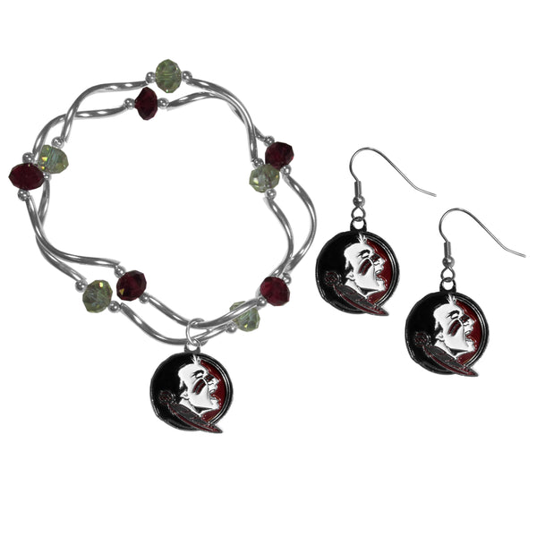 Florida St. Seminoles Dangle Earrings and Crystal Bead Bracelet Set