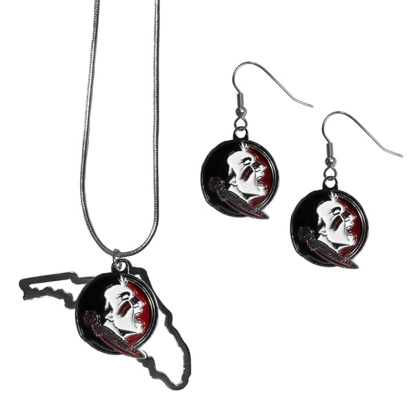 Florida St. Seminoles Dangle Earrings and State Necklace Set