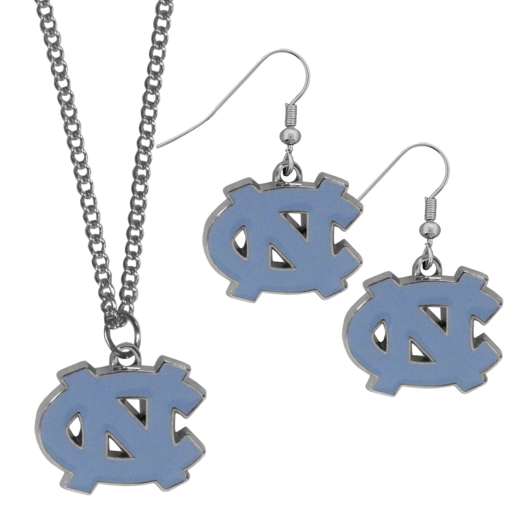 N. Carolina Tar Heels Dangle Earrings and Chain Necklace Set