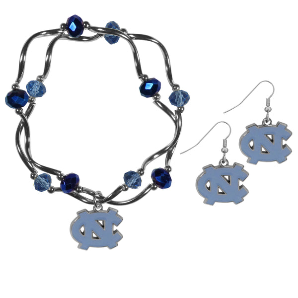 N. Carolina Tar Heels Dangle Earrings and Crystal Bead Bracelet Set
