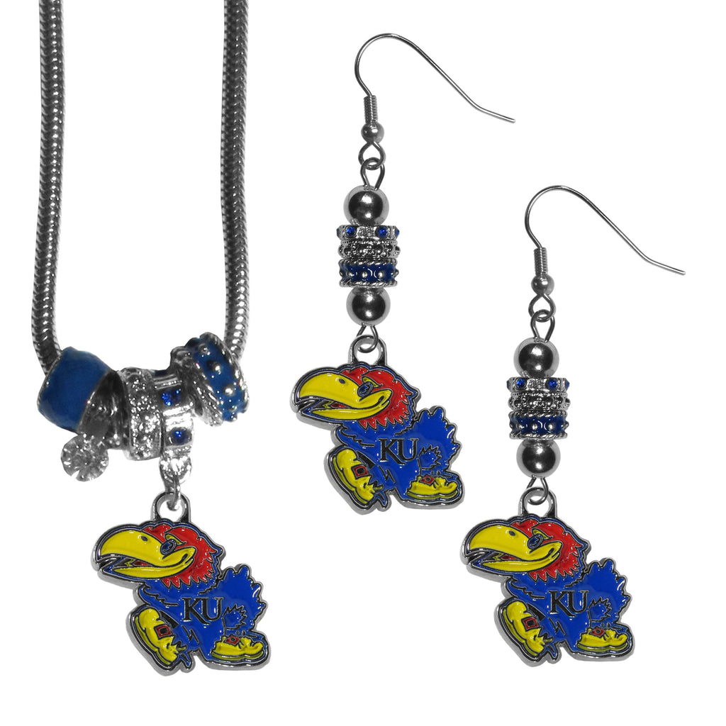 Kansas Jayhawks Euro Bead Earrings and Necklace Set