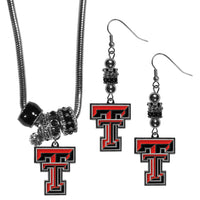 Texas Tech Raiders Euro Bead Earrings and Necklace Set