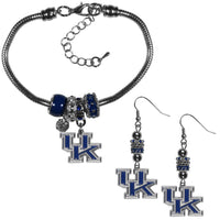 Kentucky Wildcats Euro Bead Earrings and Bracelet Set