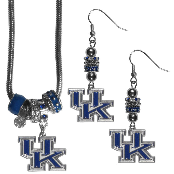 Kentucky Wildcats Euro Bead Earrings and Necklace Set