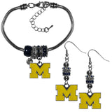 Michigan Wolverines Euro Bead Earrings and Bracelet Set