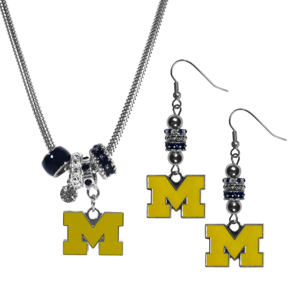 Michigan Wolverines Euro Bead Earrings and Necklace Set