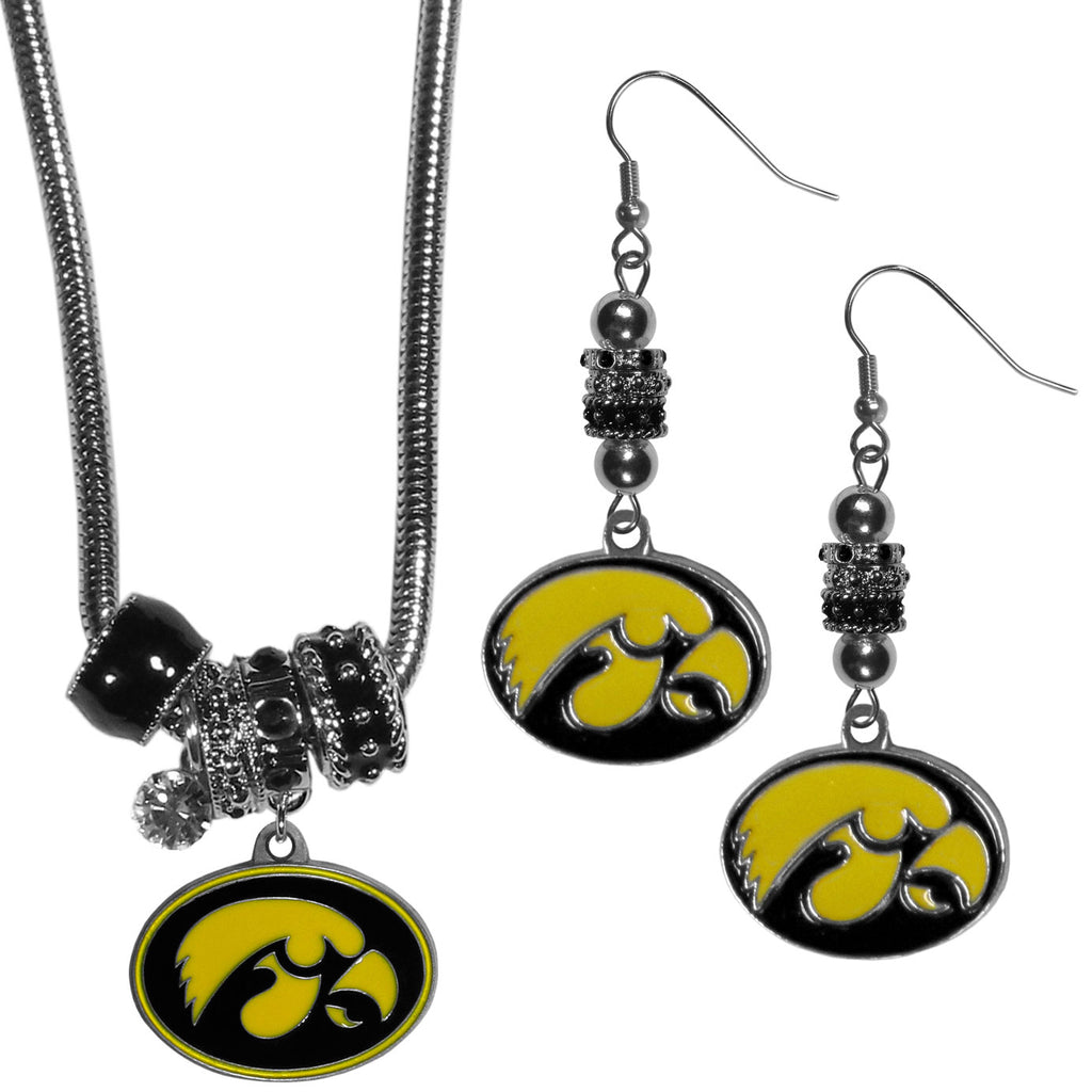 Iowa Hawkeyes Euro Bead Earrings and Necklace Set