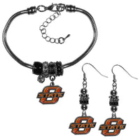 Oklahoma St. Cowboys Euro Bead Earrings and Bracelet Set