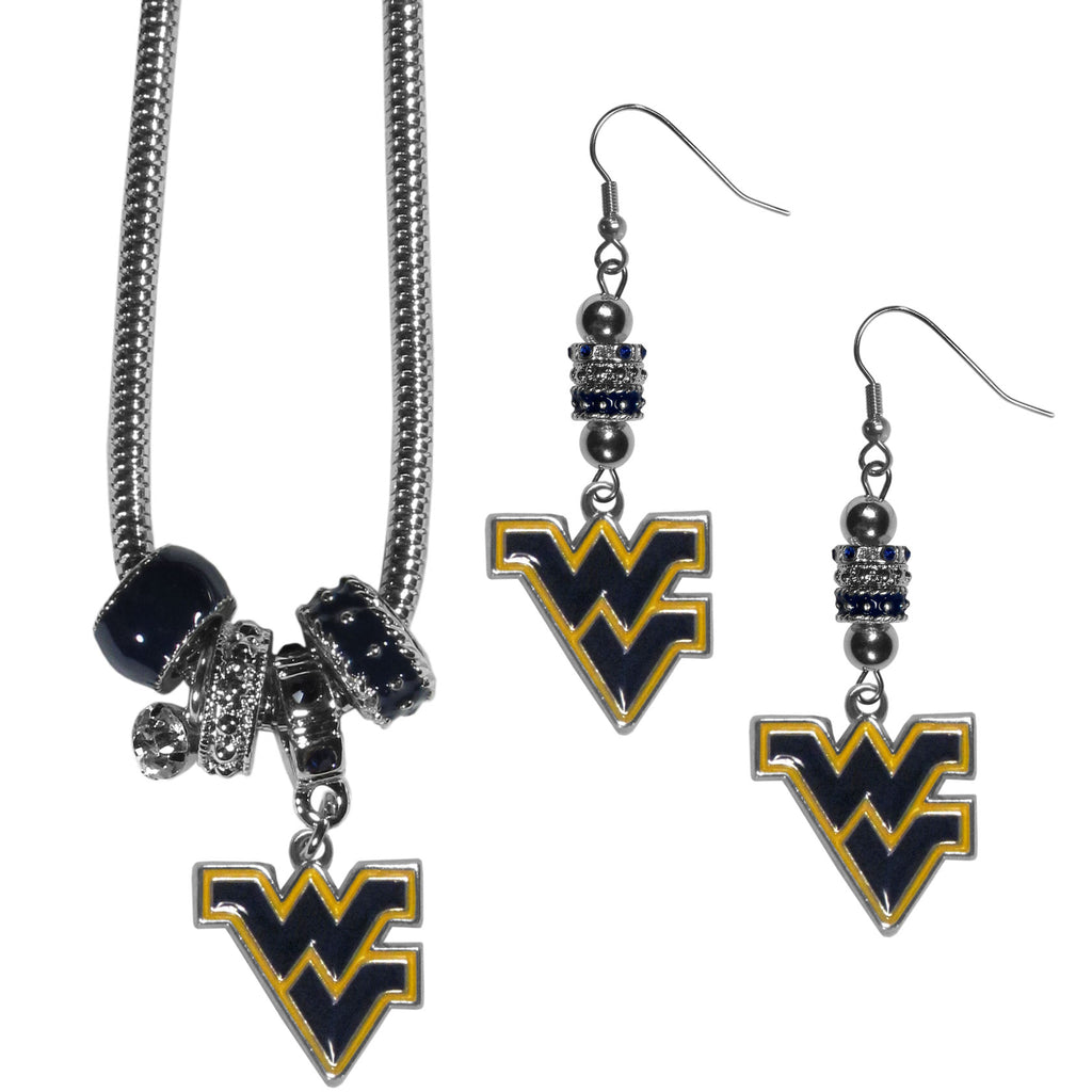 W. Virginia Mountaineers Euro Bead Earrings and Necklace Set