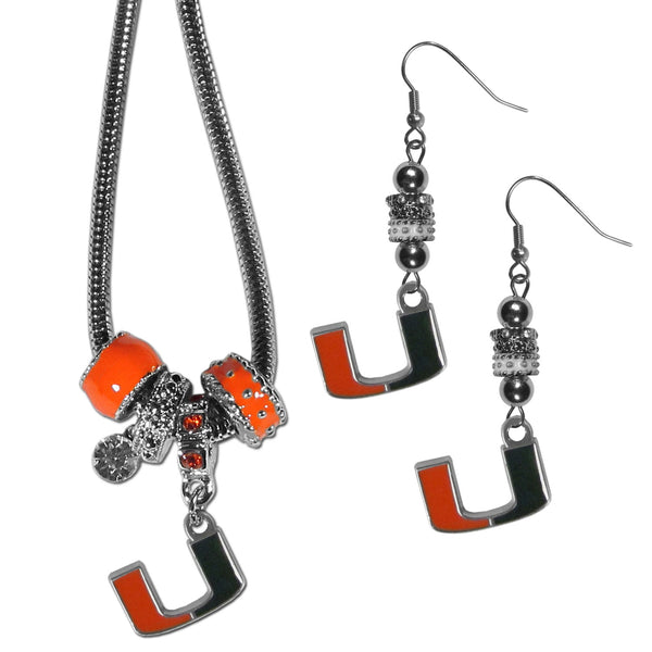 Miami Hurricanes Euro Bead Earrings and Necklace Set