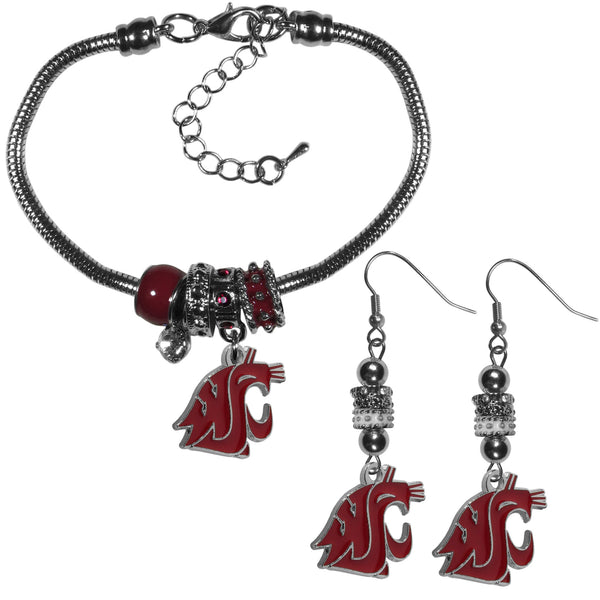 Washington St. Cougars Euro Bead Earrings and Bracelet Set