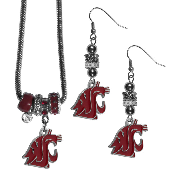 Washington St. Cougars Euro Bead Earrings and Necklace Set