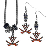 Virginia Cavaliers Euro Bead Earrings and Necklace Set
