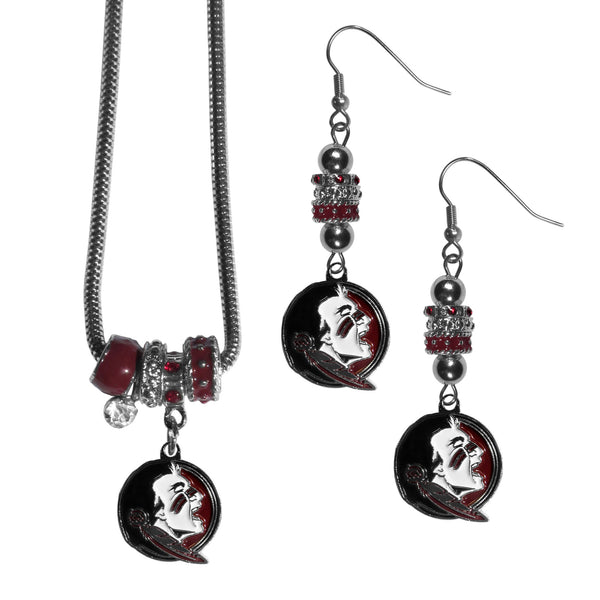 Florida St. Seminoles Euro Bead Earrings and Necklace Set