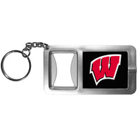 Wisconsin Badgers Flashlight Key Chain with Bottle Opener