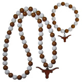 Texas Longhorns Fan Bead Necklace and Bracelet Set