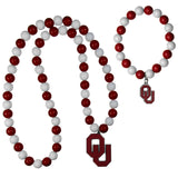 Oklahoma Sooners Fan Bead Necklace and Bracelet Set