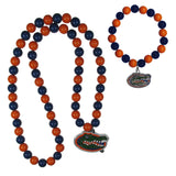 Florida Gators Fan Bead Necklace and Bracelet Set