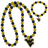 W. Virginia Mountaineers Fan Bead Necklace and Bracelet Set