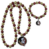 Florida St. Seminoles Fan Bead Necklace and Bracelet Set