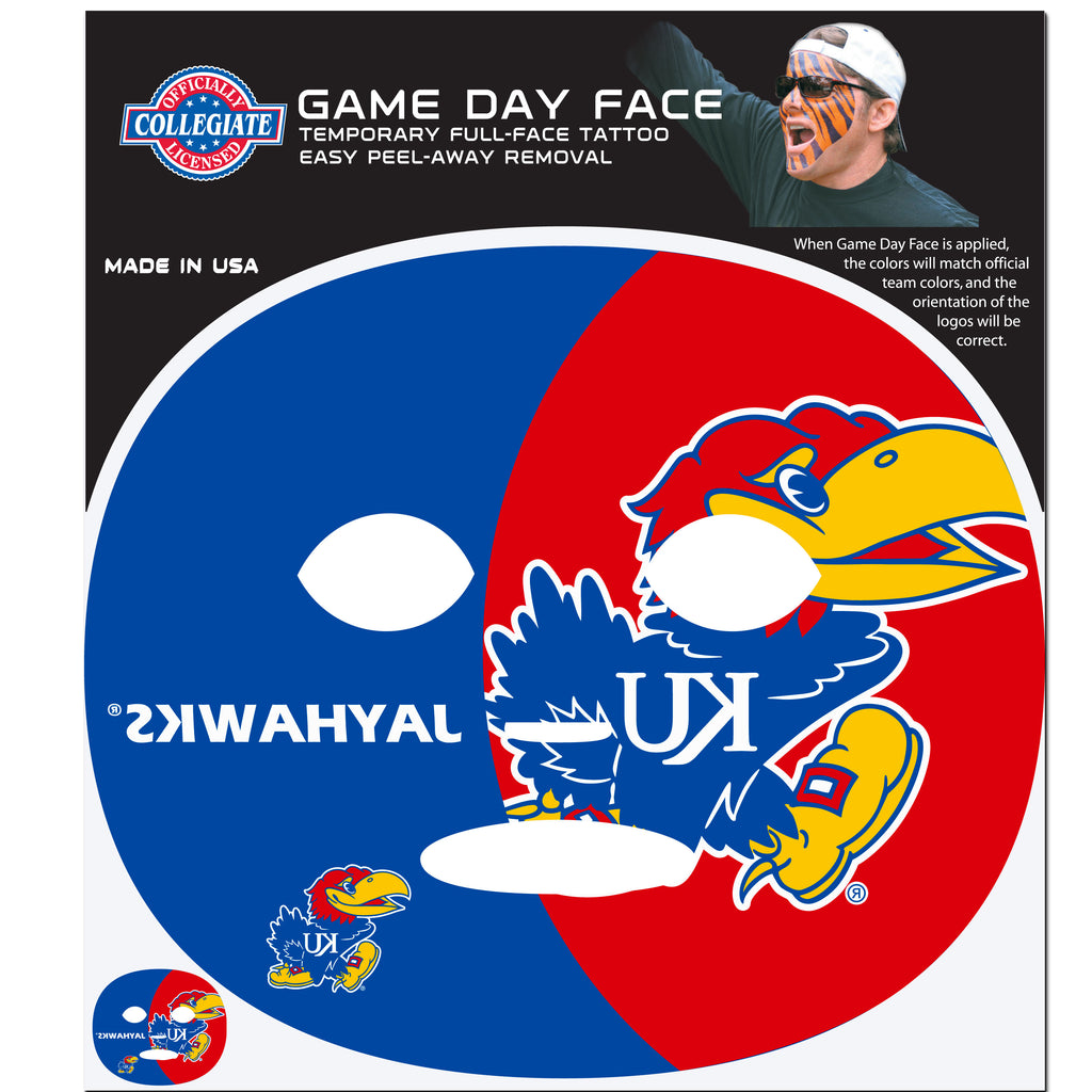 Kansas Jayhawks Game Face Temporary Tattoo