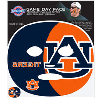Auburn Tigers Game Face Temporary Tattoo