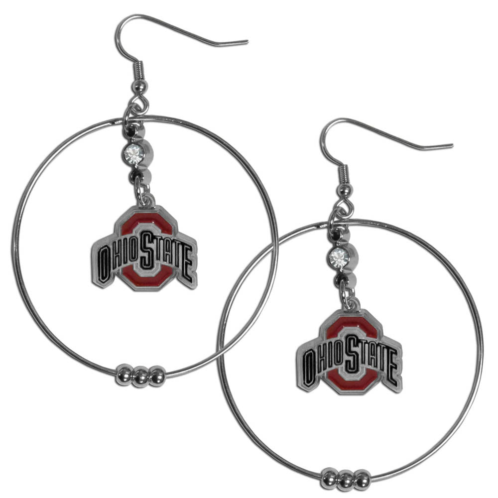 Ohio St. Buckeyes 2 Inch Hoop Earrings