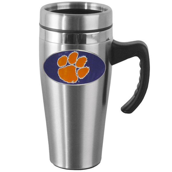 Clemson Tigers Steel Travel Mug w/Handle