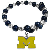 Michigan Wolverines Bead Memory Wire Bracelet