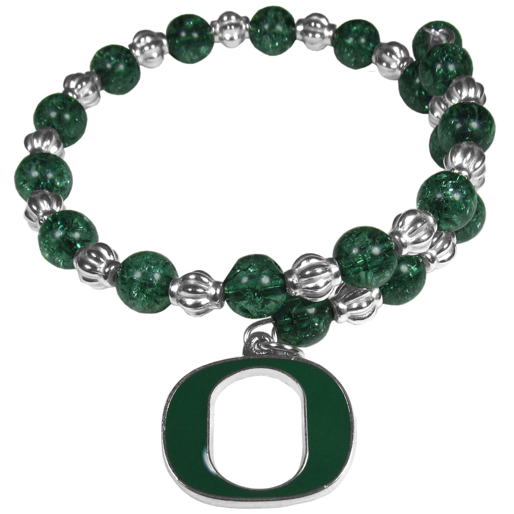 Oregon Ducks Bead Memory Wire Bracelet