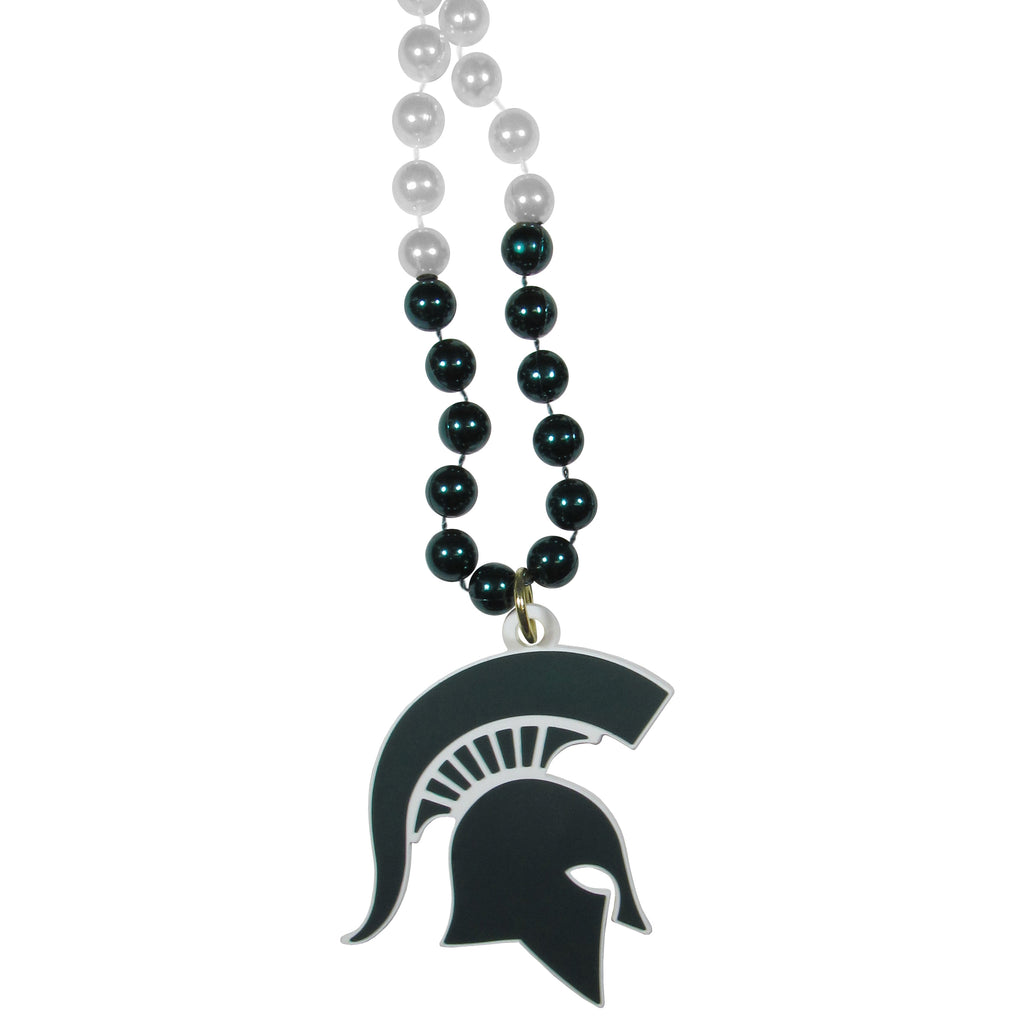 Michigan St. Spartans Mardi Gras Bead Necklace