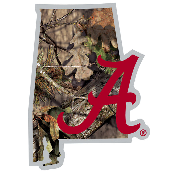 Alabama Crimson Tide State Decal w/Mossy Oak Camo