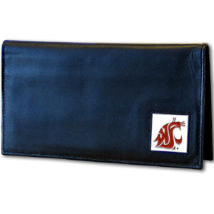 Washington St. Cougars Leather Checkbook Cover