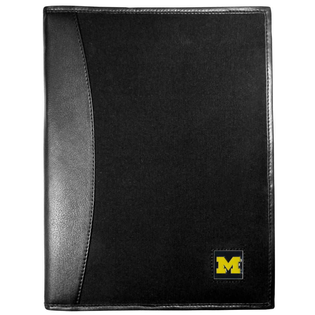 Michigan Wolverines Leather and Canvas Padfolio