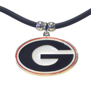 Georgia Bulldogs Rubber Cord Necklace