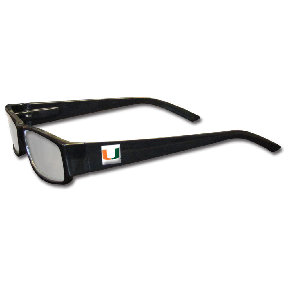 Miami Hurricanes Black Reading Glasses +2.50