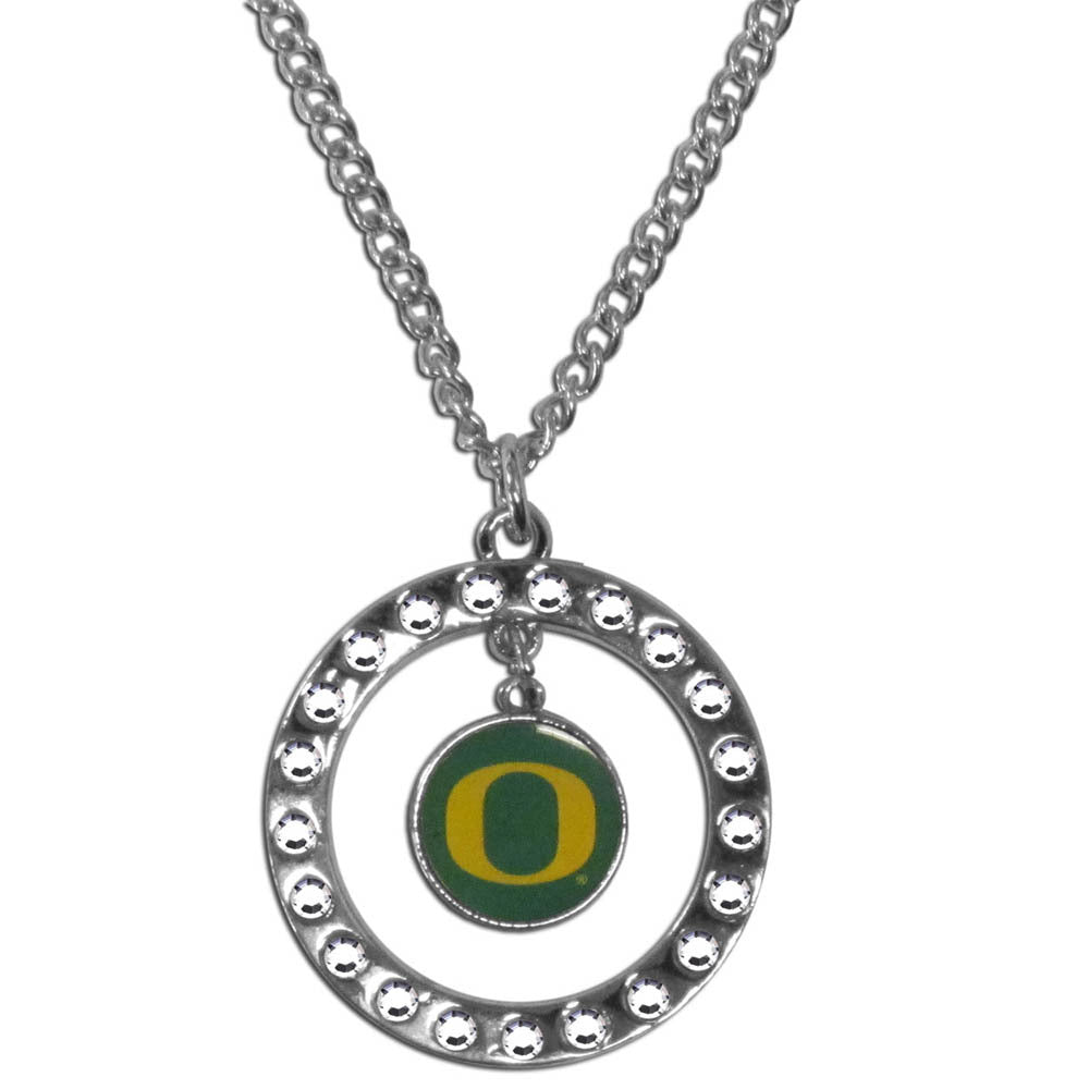 Oregon Ducks Rhinestone Hoop Necklace