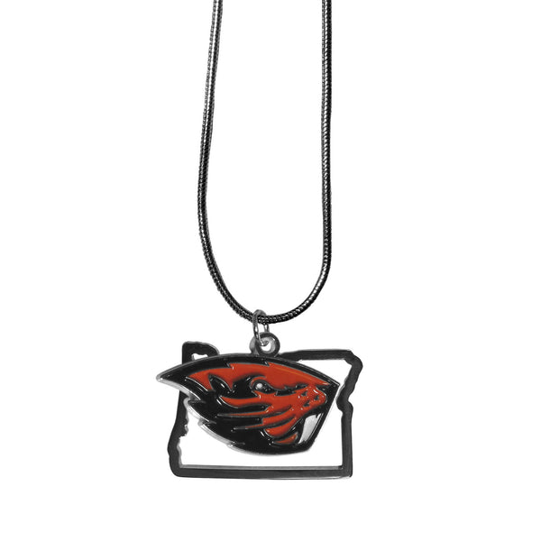 Oregon St. Beavers State Charm Necklace