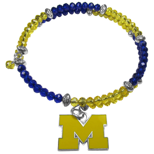 Michigan Wolverines Crystal Memory Wire Bracelet