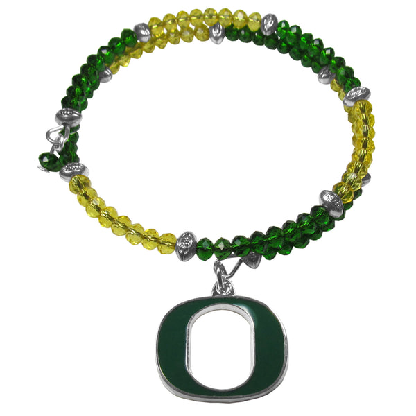Oregon Ducks Crystal Memory Wire Bracelet