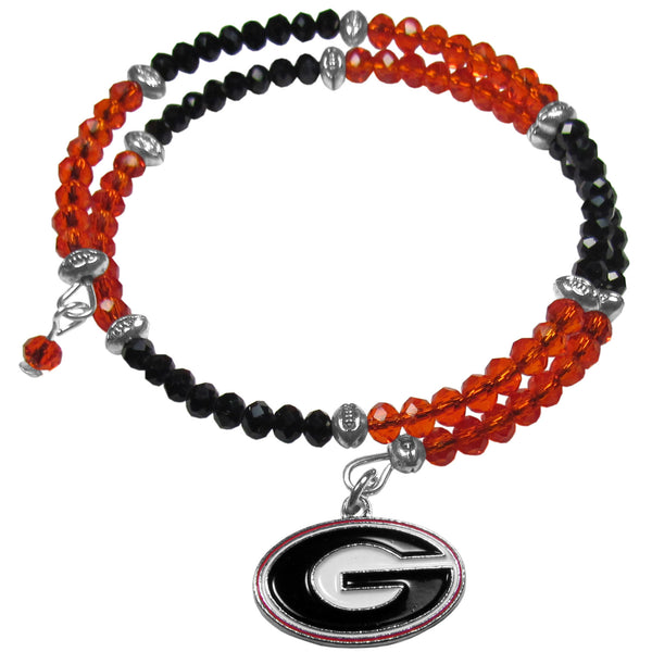 Georgia Bulldogs Crystal Memory Wire Bracelet