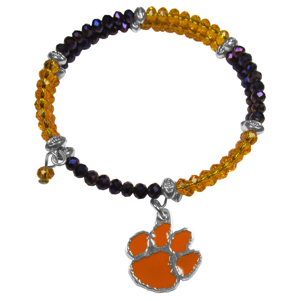 Clemson Tigers Crystal Memory Wire Bracelet