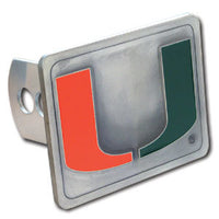 Miami Hurricanes Hitch Cover Class II and Class III Metal Plugs