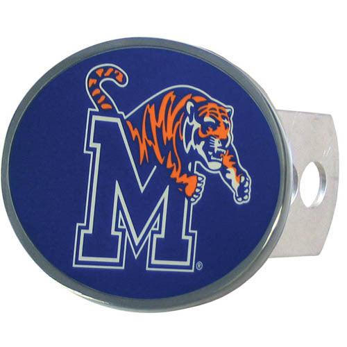 Memphis Tigers Oval Metal Hitch Cover Class II and III