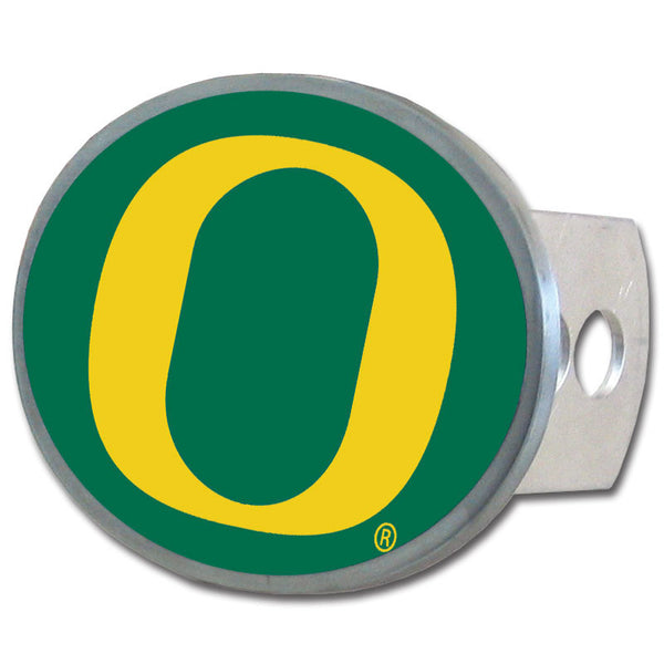 Oregon Ducks Oval Metal Hitch Cover Class II and III