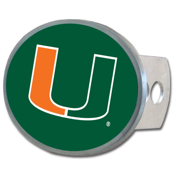 Miami Hurricanes Oval Metal Hitch Cover Class II and III