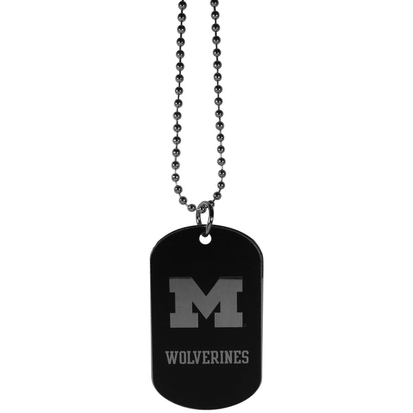 Michigan Wolverines Chrome Tag Necklace