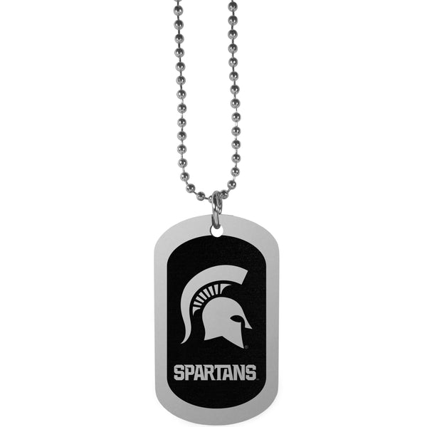 Michigan St. Spartans Chrome Tag Necklace