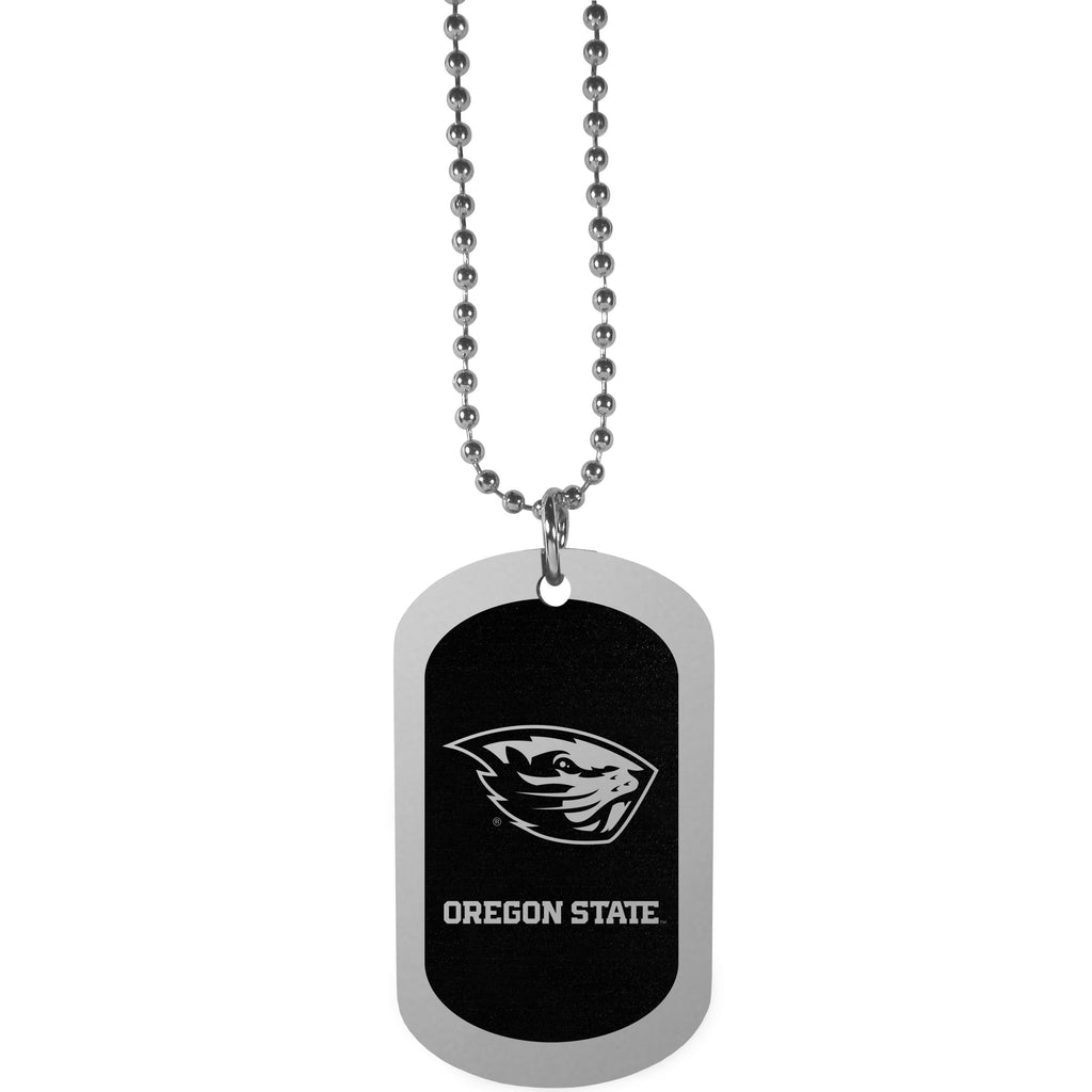 Oregon St. Beavers Chrome Tag Necklace